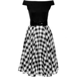Sukienki: Sukienka z odkrytymi ramionami bonprix biało-czarny