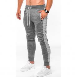 SPODNIE MĘSKIE DRESOWE P730 - SZARY/BIAŁY. Białe spodnie dresowe męskie Ombre Clothing, z bawełny. Za 59,00 zł.