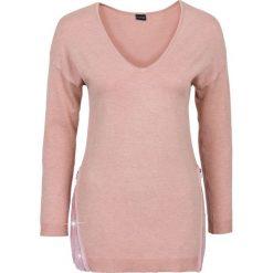 Sweter z aplikacją z cekinów bonprix stary jasnoróżowy melanż. Czerwone swetry klasyczne damskie bonprix. Za 99,99 zł.