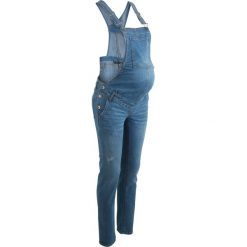 """Rurki damskie: Ogrodniczki dżinsowe ciążowe, wąskie nogawki bonprix niebieski """"bleached"""""""
