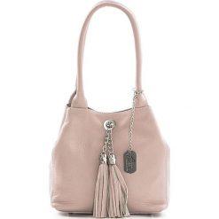 Torebki klasyczne damskie: Skórzana torebka w kolorze jasnoróżowym – 23 x 18 x 10 cm