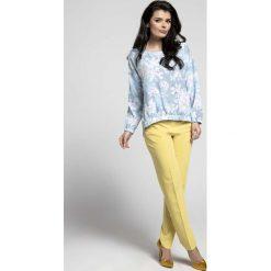 Bluzki damskie: Niebieska Oversizowa Asymetryczna Bluzka z Gumkami