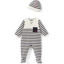 Piżama w paski z czapeczką 0 - 3 lata. Szare bielizna chłopięca marki La Redoute Collections, w paski, z bawełny. Za 100,76 zł.