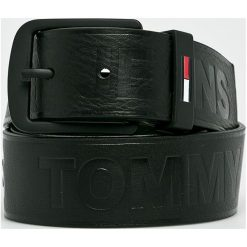 Tommy Jeans - Pasek skórzany. Czarne paski męskie marki Tommy Jeans, w paski, z jeansu. Za 249,90 zł.