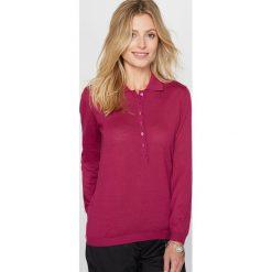 Sweter z kołnierzykiem polo, koszula, cienka dzianina. Czerwone kardigany damskie Anne weyburn, z dzianiny, z koszulowym kołnierzykiem, z długim rękawem. Za 230,96 zł.