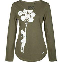 Koszulka w kolorze oliwkowym. Brązowe bluzki z odkrytymi ramionami Homebase, Tuffskull & Soulstar, m, z nadrukiem, z okrągłym kołnierzem, z długim rękawem. W wyprzedaży za 106,95 zł.