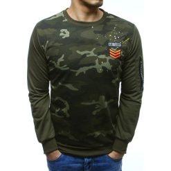 Bluzy męskie: Bluza męska z nadrukiem camo zielona (bx3497)