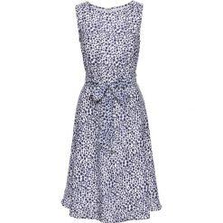 Sukienka bonprix biało-ciemnoniebieski w kropki. Białe sukienki hiszpanki bonprix, w kropki, z okrągłym kołnierzem. Za 109,99 zł.