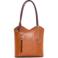 Torebki klasyczne damskie: Skórzana torebka w kolorze jasnobrązowym – 28 x 55 x 9 cm