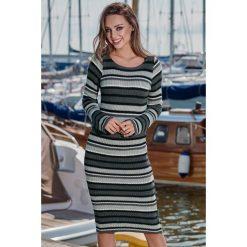 Ołówkowa sukienka sweterkowa ls224. Brązowe długie sukienki marki Lemoniade, z klasycznym kołnierzykiem. Za 139,00 zł.