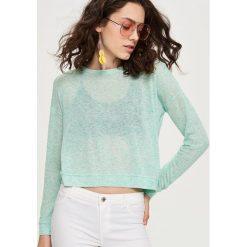 Swetry damskie: Krótki sweter – Zielony