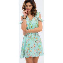 Miętowa sukienka z gumką w talii TA6185. Zielone sukienki Fasardi, l. Za 64,00 zł.
