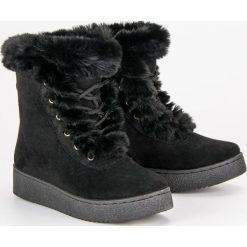 Buty zimowe damskie: CZARNE WIĄZANE ŚNIEGOWCE