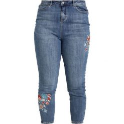 New Look Curves LEO EMBROIDERED SKINNY Jeans Skinny Fit dark blue. Niebieskie jeansy damskie New Look Curves. Za 149,00 zł.