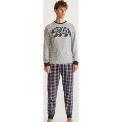 Piżama z długimi spodniami - Jasny szar. Szare piżamy męskie marki Reserved, l, z długim rękawem. Za 129,99 zł.