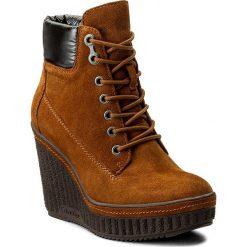 Botki CALVIN KLEIN JEANS - Sage R0580 Camel/Black. Brązowe buty zimowe damskie Calvin Klein Jeans, z jeansu, na obcasie. W wyprzedaży za 379,00 zł.