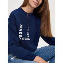 Bluzy rozpinane damskie: Bluza z wiązaniem - Granatowy