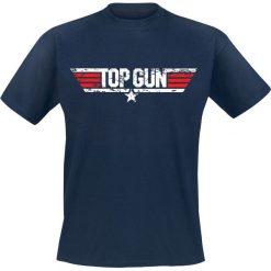 Top Gun Distressed Logo T-Shirt granatowy. Niebieskie t-shirty męskie Top Gun, m. Za 74,90 zł.