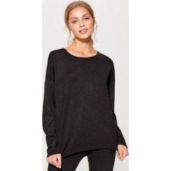 Swetry klasyczne damskie: Sweter z brokatowej dzianiny – Czarny