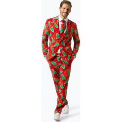 OppoSuits - Garnitur męski z krawatem – Fine Pine, czerwony. Czerwone garnitury OppoSuits. Za 379,95 zł.