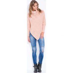 Swetry rozpinane damskie: Morelowe Poncho-Sweter z Golfem z Guzikami