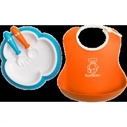 Śliniaki: BABYBJORN – zestaw do karmienia – pomarańczowy/niebieski