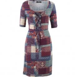 Sukienka shirtowa, krótki rękaw bonprix czerwony kasztanowy - zielony eukaliptus wzorzysty. Czerwone sukienki mini bonprix, z krótkim rękawem. Za 89,99 zł.
