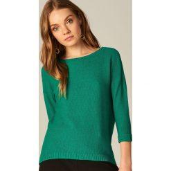 Swetry damskie: Miękki sweter z bawełną - Zielony