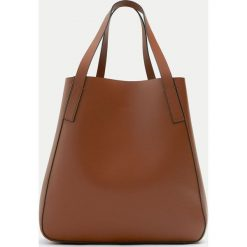 Shopper bag damskie: Brązowa torba shopper basic