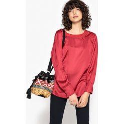 Bluzki asymetryczne: Gładka bluzka z okrągłym dekoltem i długim rękawem