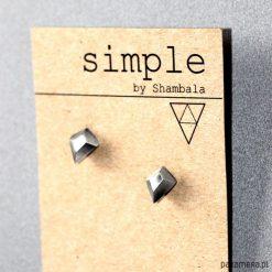 Kolczyki damskie: Srebrne geometryczne kolczyki wkrętki DIAMOND IV