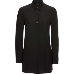 Długa bluzka bonprix czarny. Czarne bluzki longsleeves marki bonprix, z nadrukiem, z dekoltem w serek. Za 49,99 zł.