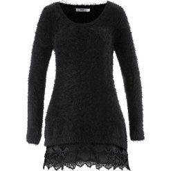 Swetry klasyczne damskie: Długi sweter z koronką, długi rękaw bonprix czarny