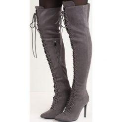 Szare Kozaki Lorcan. Szare buty zimowe damskie marki Born2be, ze szpiczastym noskiem, na wysokim obcasie, na szpilce. Za 169,99 zł.