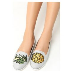 Mokasyny damskie: Szare Mokasyny Pineapple