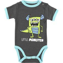 Body niemowlęce: Lazy One Little Monster Body ciemnoszary/niebieski