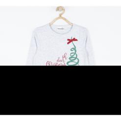 Koszulka. Czerwone bluzki dziewczęce bawełniane Merry Christmas, melanż, z kokardą, z długim rękawem. Za 45,90 zł.