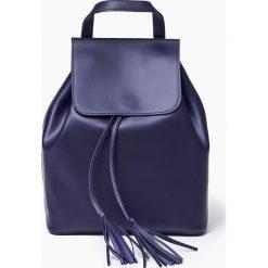 Plecaki damskie: Granatowa Skórzana włoska torba plecak SUSANA