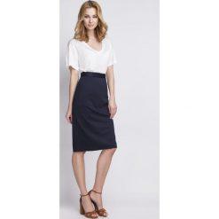 Spódniczki: Ołówkowa Granatowa Spódnica Midi z Wysokim Stanem