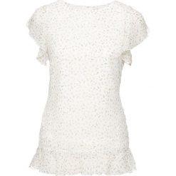 Bluzki asymetryczne: Bluzka z rękawami z falbanami bonprix biel wełny w kwiaty