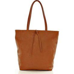 Shopper bag damskie: Modny shopper na ramię skórzany camel AMELIA