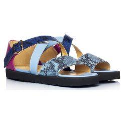 Rzymianki damskie: Skórzane sandaly w kolorze niebiesko-różowym