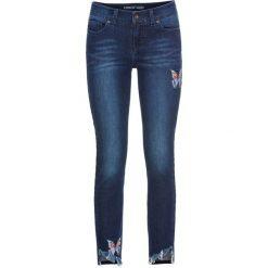 """Dżinsy Skinny z haftem, w krótszej długości bonprix niebieski """"stone"""". Niebieskie jeansy damskie skinny marki bonprix, z nadrukiem. Za 89,99 zł."""