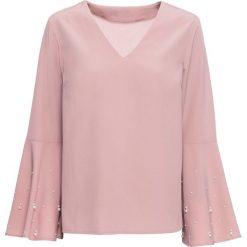 Bluzka z perełkami bonprix różowobrązowy. Czerwone bluzki z odkrytymi ramionami marki bonprix, z dekoltem w serek. Za 89,99 zł.