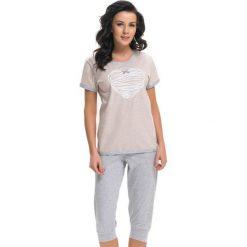 Piżamy damskie: Piżama w kolorze jasnobrązowo-szarym