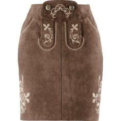 Spódnice wieczorowe: Spódnica skórzana z haftem bonprix ciemnobrązowy