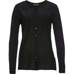 Bluzka Premium z jedwabną wstawką bonprix czarny. Czarne bluzki z odkrytymi ramionami bonprix, z dzianiny. Za 149,99 zł.