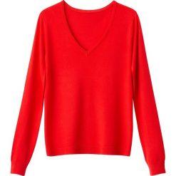Swetry damskie: Sweter z dekoltem w serek, z cienkiej dzianiny