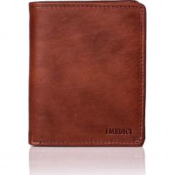 Skórzany portfel w kolorze brązowym - 13 x 11 x 2,5 cm. Brązowe portfele męskie marki I MEDICI FIRENZE, z materiału. W wyprzedaży za 195,95 zł.