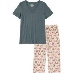 Piżama ze spodniami 3/4 bonprix zielono-beżowy z nadrukiem. Zielone piżamy damskie bonprix, z nadrukiem. Za 54,99 zł.